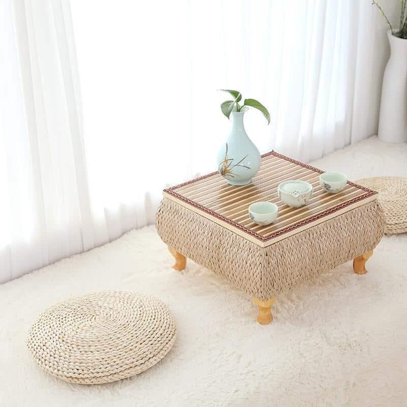 Bright Valley Floor Pillow Woven Grass / Juta Pouf Pillow