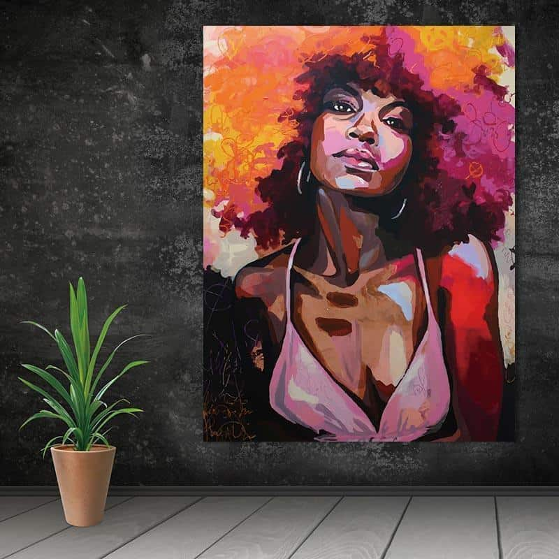 African Woman | Girl With An Attitude | Unframed Canvas Art unique and elegant Canvas print - Wall Art Heritage / 60x90cm