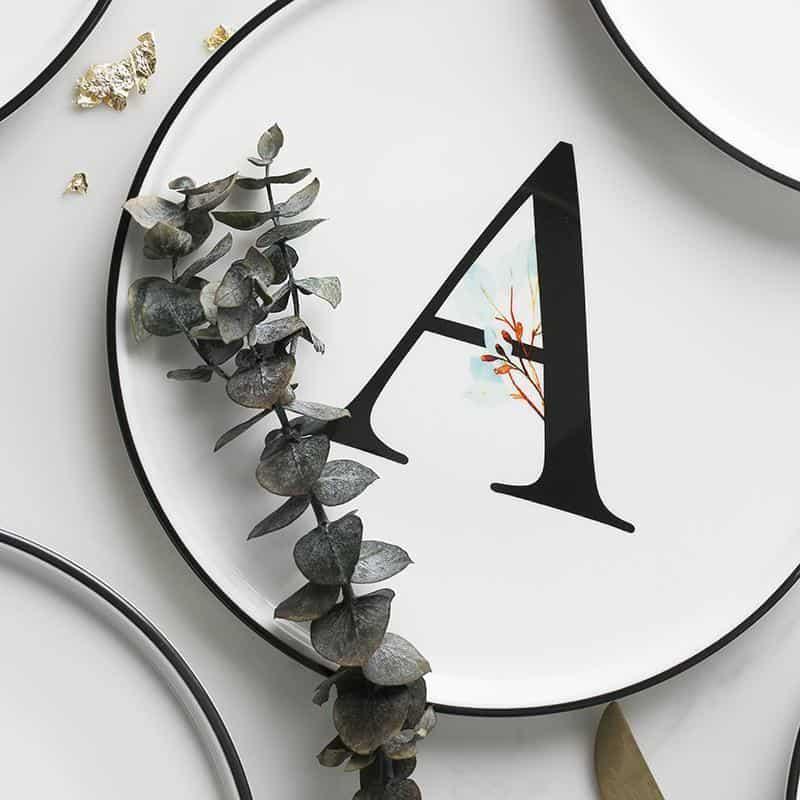 Alphabet Plate | Black And White Dinnerware
