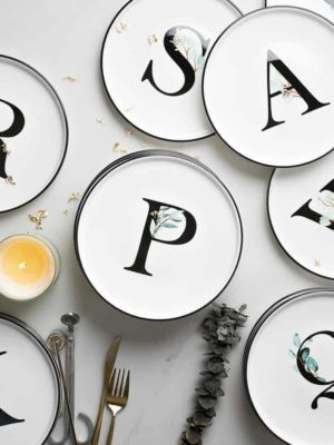 Alphabet Plate | Black And White Dinnerware
