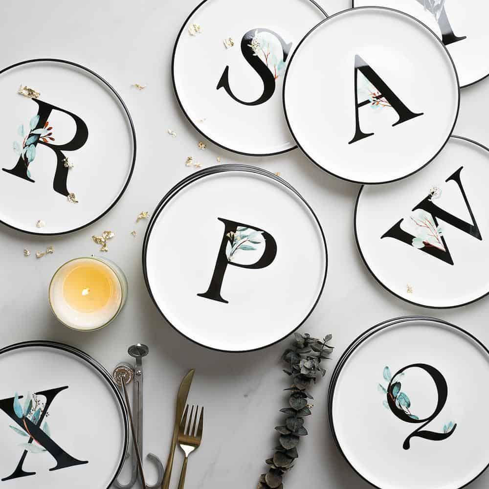 Alphabet Monochrome Plate unique and elegant Plates