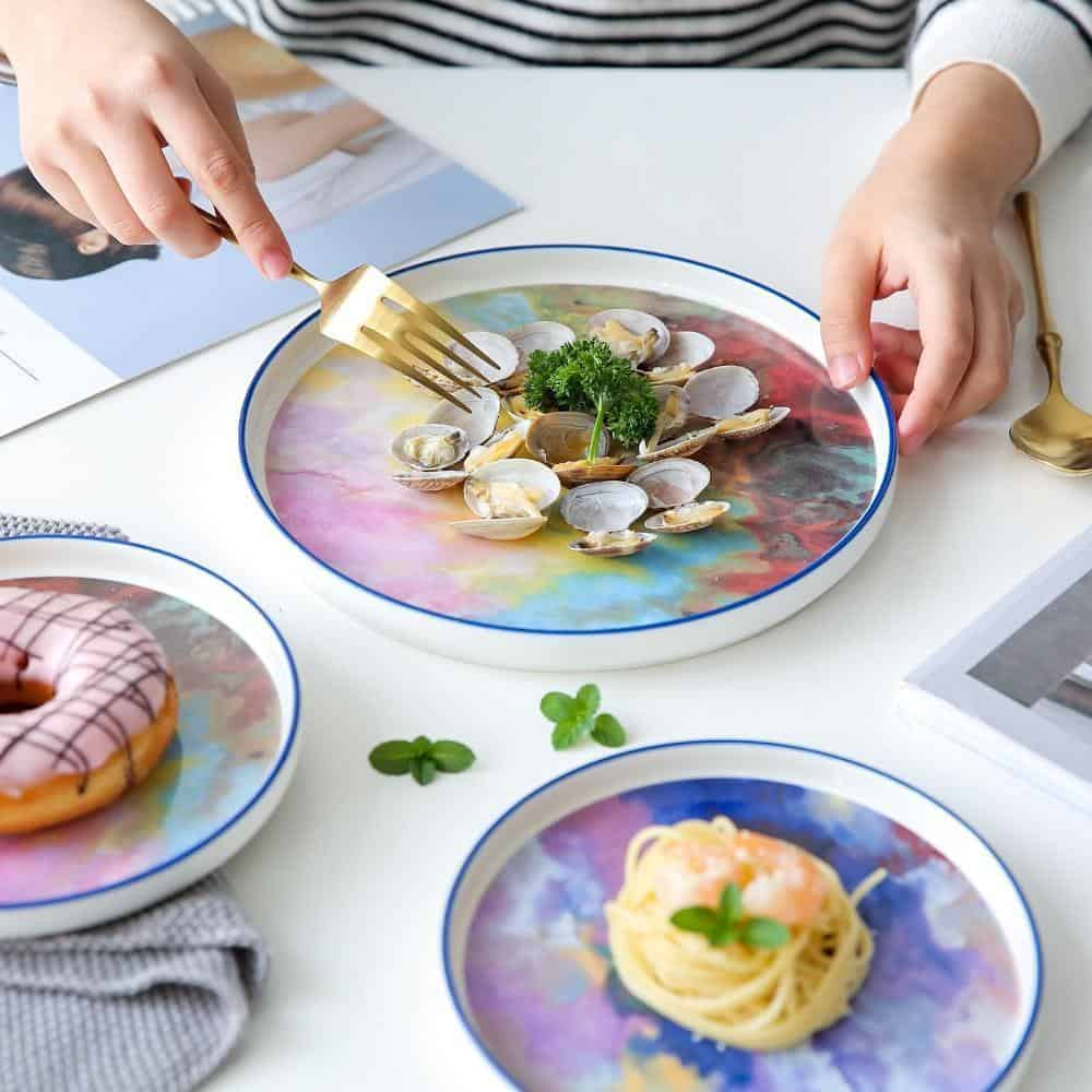 Daydream Plate | Multicolor Marbled Dinnerware Set