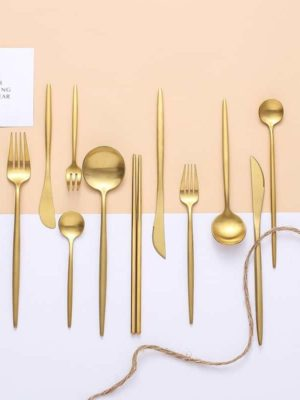 Matte Gold Flatware by Rosseta | Premium Set of 4