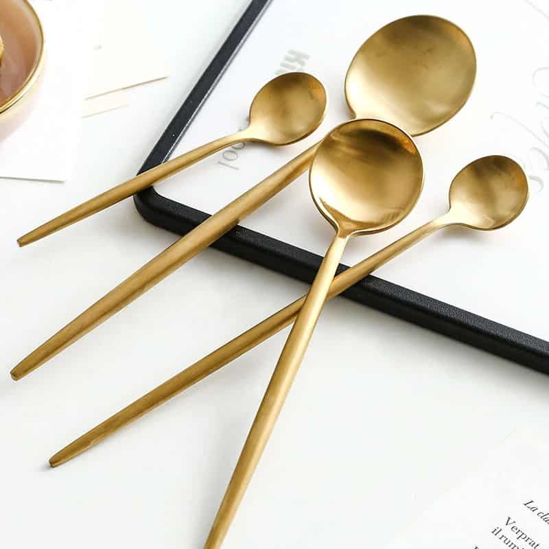 Matte Gold Flatware by Rosseta | Premium Set of 4