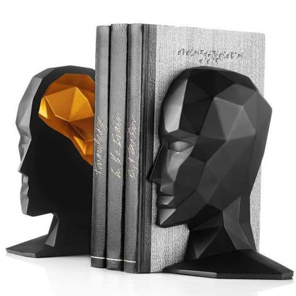 MICHAEL THINK! | Half head Bookend | Gold Brain