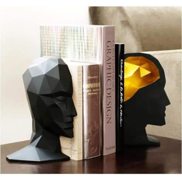 MICHAEL THINK! | Half head Bookend | Gold Brain