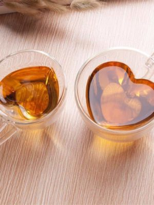 Leophine Heart Love Double Layers / Borosilicate Glass Mug