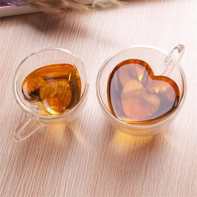 Leophine Heart Love Double Layers Borosilicate Glass Mug /