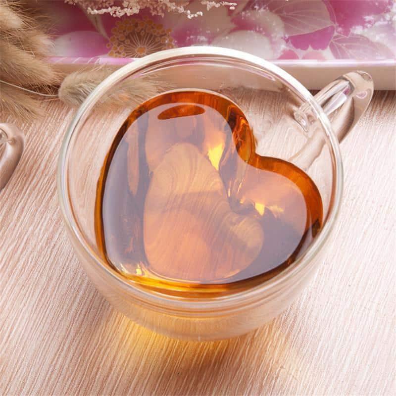 Leophine Heart Love Double Layers / Borosilicate Glass Mug