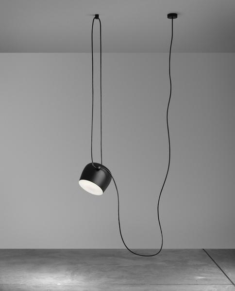 Hektor Drum Spot Pendant Lamp Pendant lighting Deep black / 1 head / 350 cm