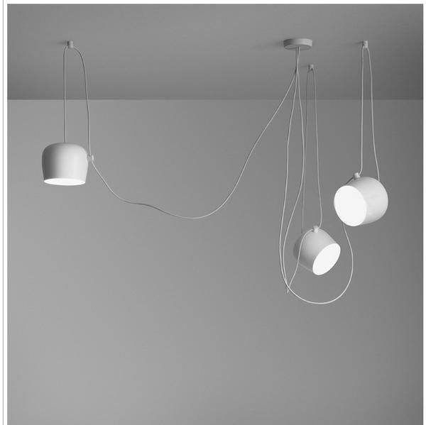 Hektor Drum Spot Pendant Lamp Pendant lighting Clean white / 6 heads / 350 cm