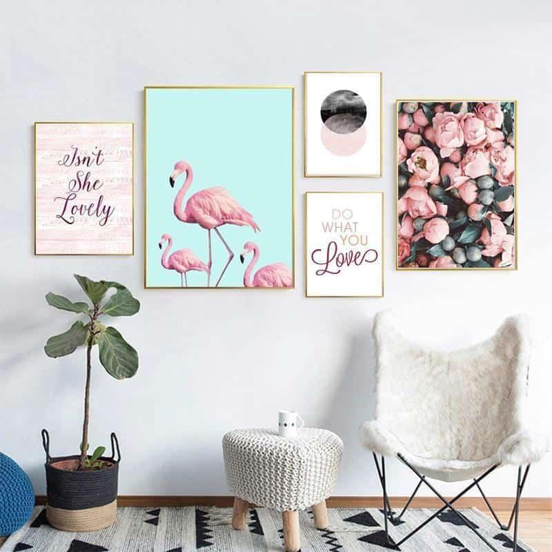 Flamingo & Pink Rhapsody | Unframed Canvas Art