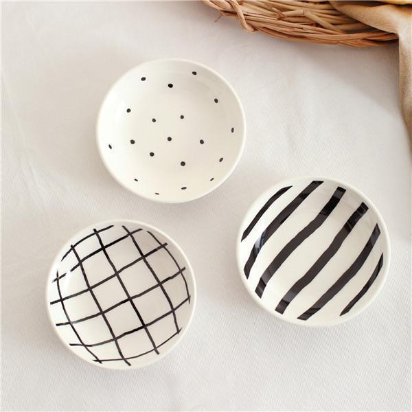 B&W by Una Hubmann 3pcs/set unique and elegant Dinnerware Dots & Lines / mini plate / 3pcs