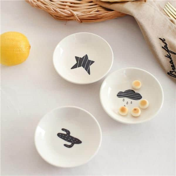 B&W by Una Hubmann 3pcs/set unique and elegant Dinnerware Black & White / mini plate / 3pcs