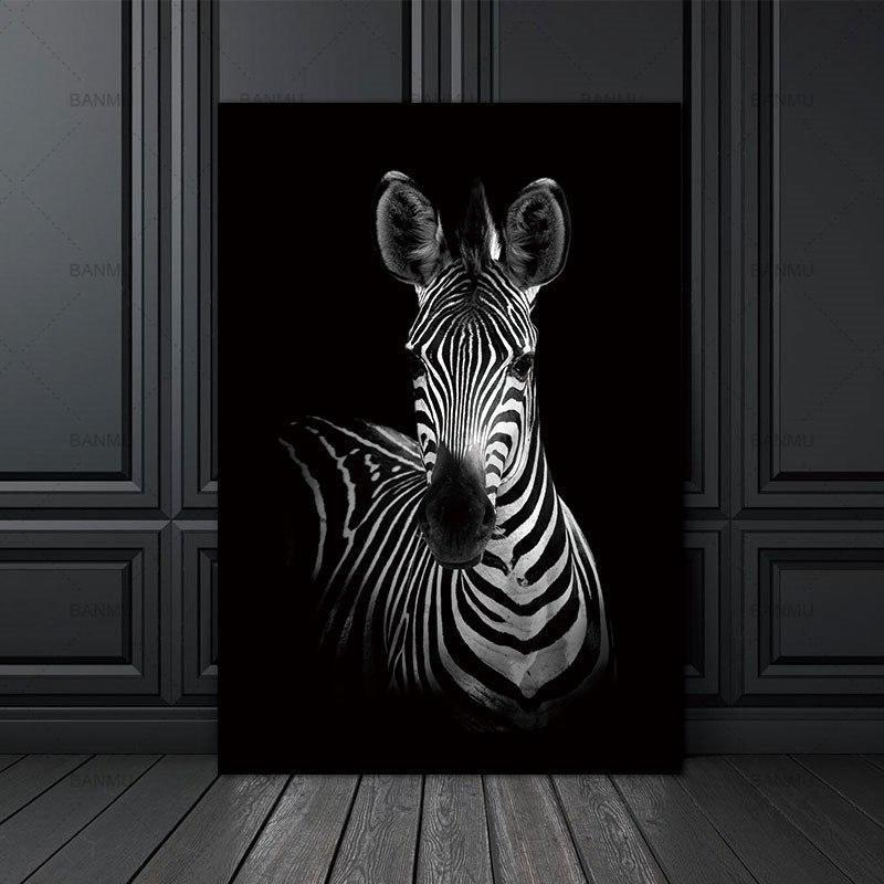 Straight Zebra Black & White | Unframed Canvas Art