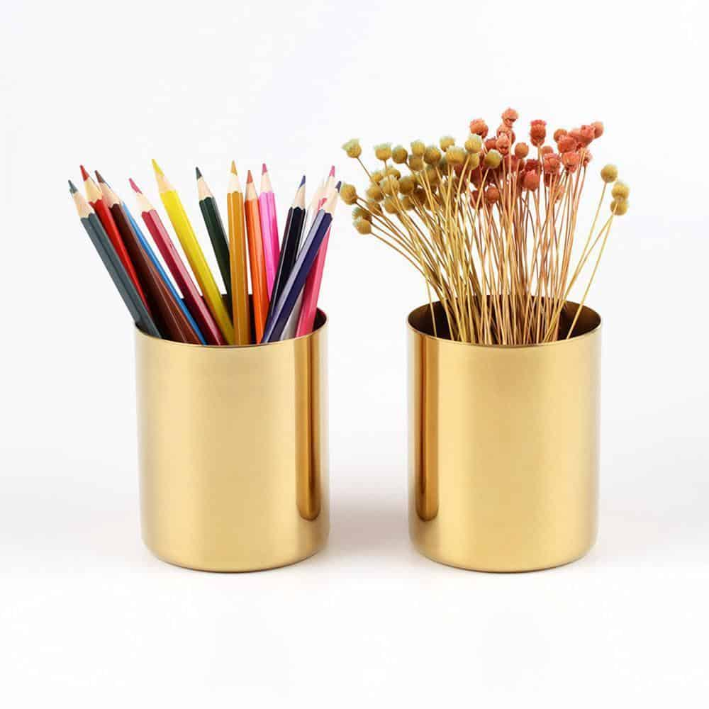 Perfecto by Bjorkman Fluttergold Golden Vase/Pen Holder Vase