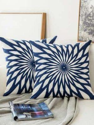 Blue Geometric | Boho Mandala | Bohemian | Embroidery Cushion