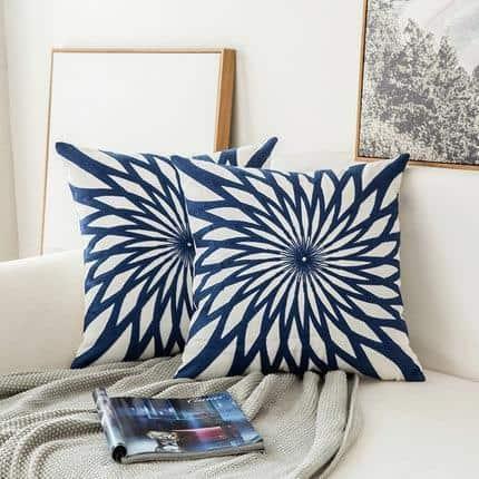 Blue Geometric | Boho Mandala | Bohemian | Embroidery Cushion unique and elegant Pillow Oriental 1