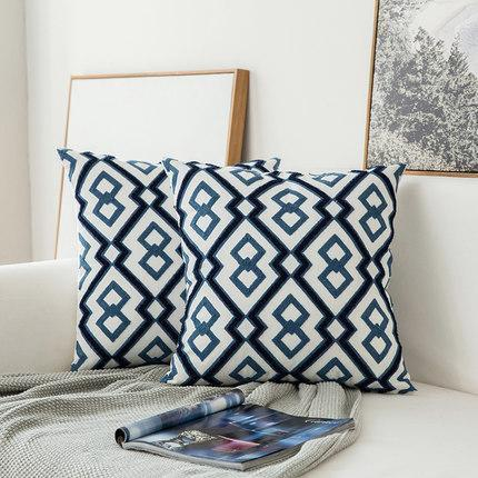 Blue Geometric | Boho Mandala | Bohemian | Embroidery Cushion unique and elegant Pillow Oriental 2