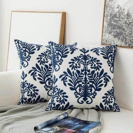 Blue Geometric | Boho Mandala | Bohemian | Embroidery Cushion unique and elegant Pillow Oriental 3