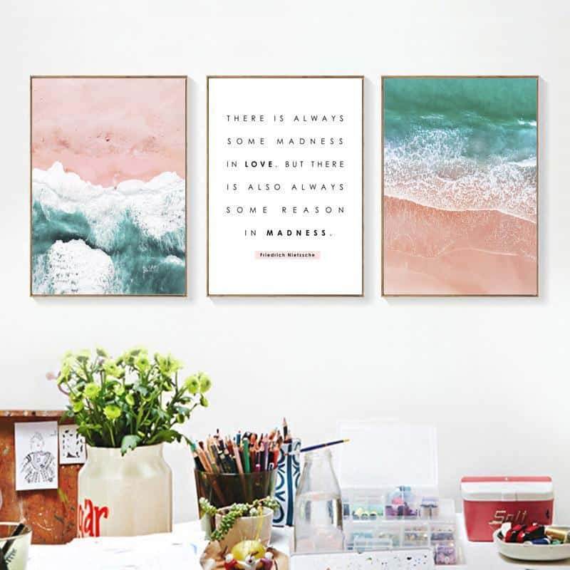 Pink Sand Beach + Inspirational Quotes | Unframed Canvas Art
