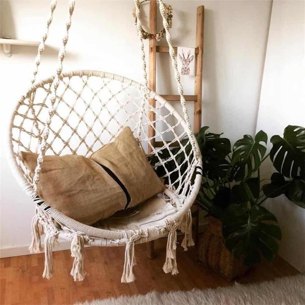 Hannes Malmström Handmade Knitted Hammock Swing Bed Swing chair Bohemian rhapsody / White