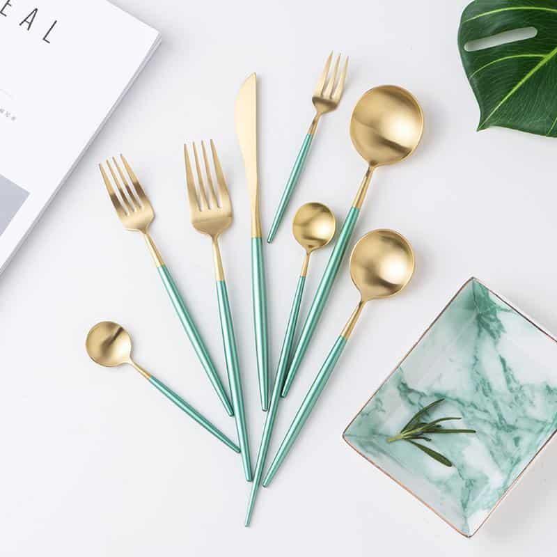 Julia Gold Flatware Set | Matte Green Handle