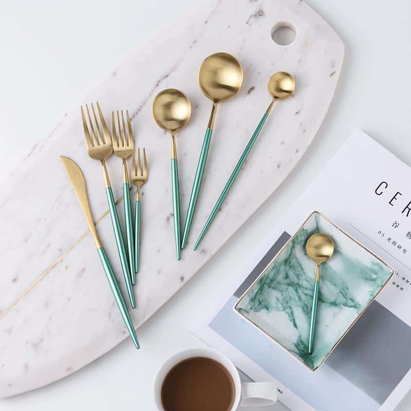 Julia Gold Flatware Set | Green Handle