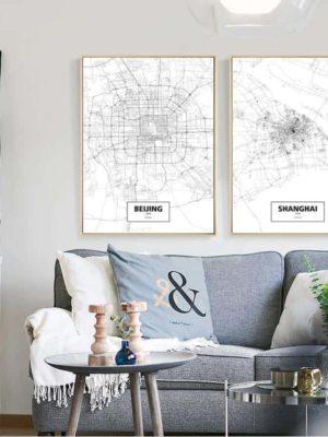 Minimalist City Map | Maps of Capitals | Unframed Canvas Art