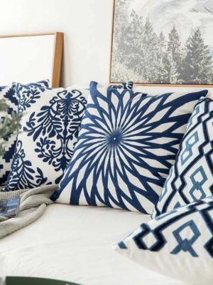 Blue Geometric | Boho Mandala | Bohemian | Embroidery Cushion