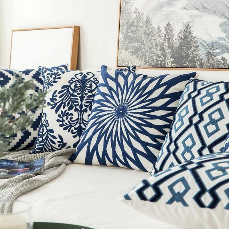 Blue Geometric   Boho Mandala   Bohemian   Embroidery Cushion unique and elegant Pillow
