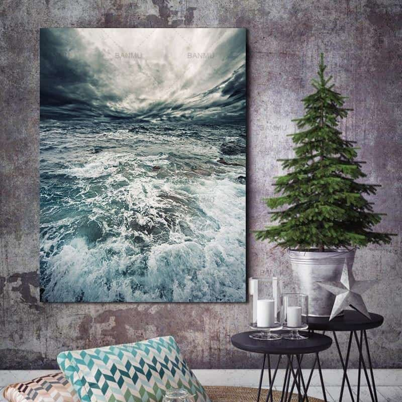 Walter | Perfect Sea Waves | Unframed Canvas Art unique and elegant Canvas print - Wall Art