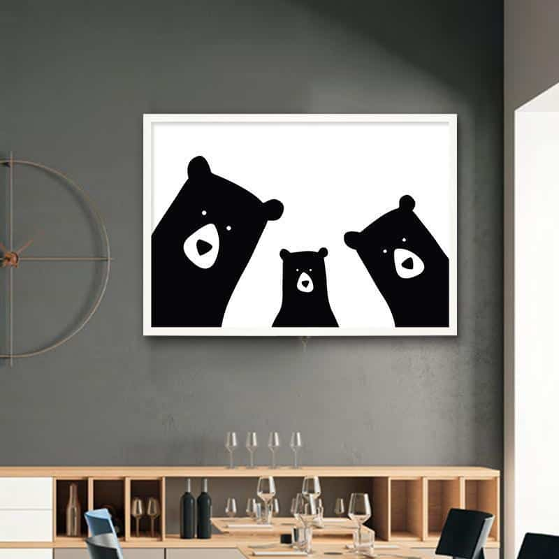 We Are Bears Family | Family Portrait | Unframed Canvas Art unique and elegant Canvas print - Wall Art