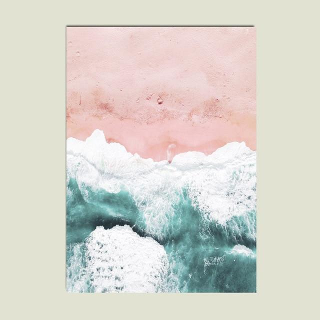 Pink Sand Beach Canvas print - Wall Art Amazingly pink / 50X70cm