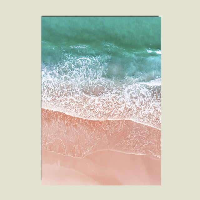 Pink Sand Beach Canvas print - Wall Art Pink sea / 50X70cm
