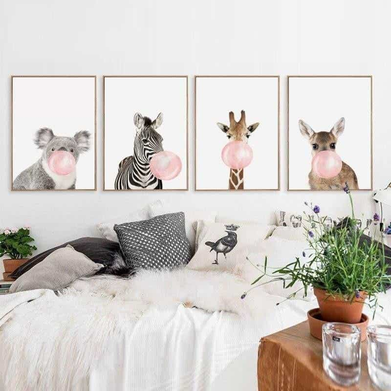 Happy Animals - Say Cheese Canvas print - Wall Art
