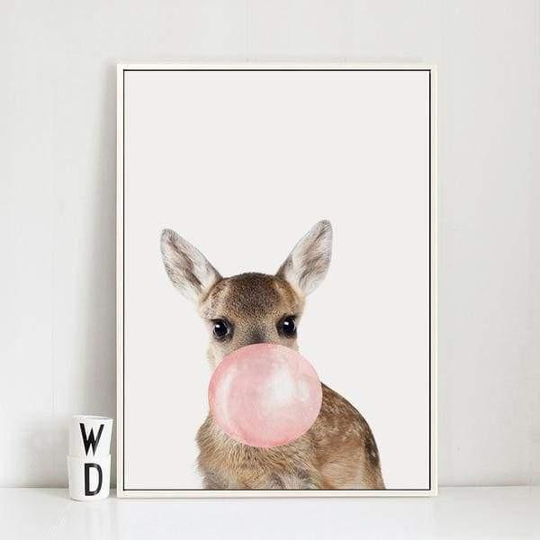 Happy Animals - Say Cheese Canvas print - Wall Art Bambi / 60x80cm