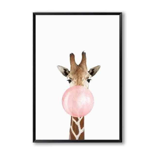 Happy Animals - Say Cheese Canvas print - Wall Art Giraffe / 60x80cm