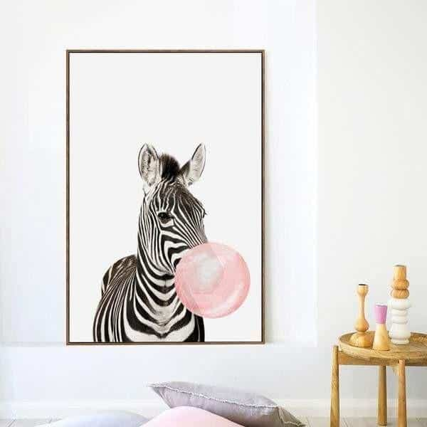 Happy Animals - Say Cheese Canvas print - Wall Art Zebra / 60x80cm