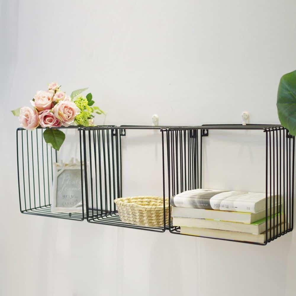 Simple Cube Shelf | Black Square Metal Wire Shelf
