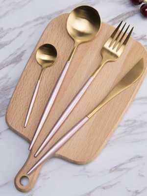 Gold Flatware Pink Handle by Rosseta | Modern Set of 4