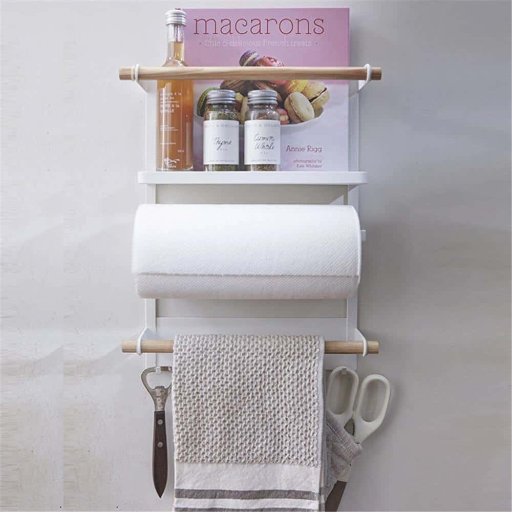 CLEAN O2 | Magnetic Fridge Kitchen Rack | Kitchen Organizer and Tissue Holder unique and elegant Shelf