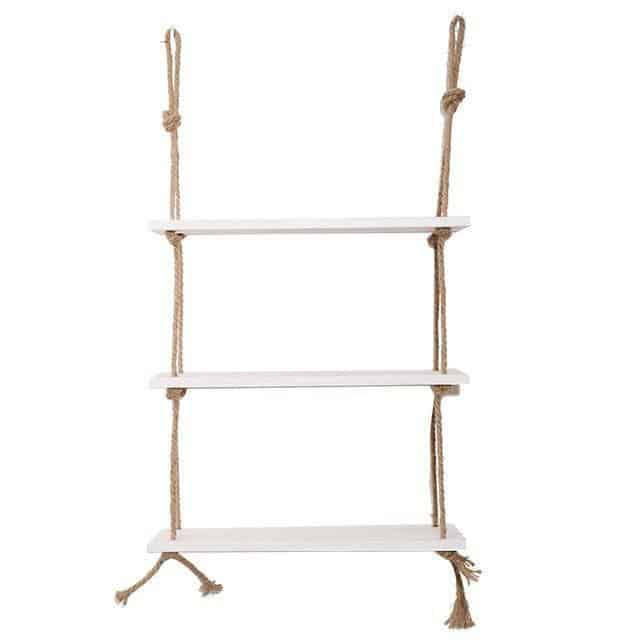 Essence by Shields Shelf | Wooden Hanging Shelf Swing Rope Shelf White 2