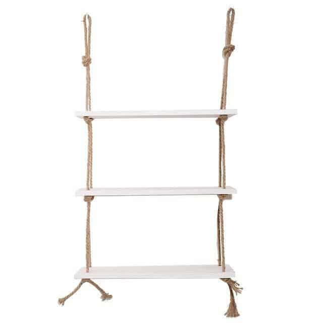 Essence by Shields Shelf | Wooden Hanging Shelf Swing Rope Shelf White 2