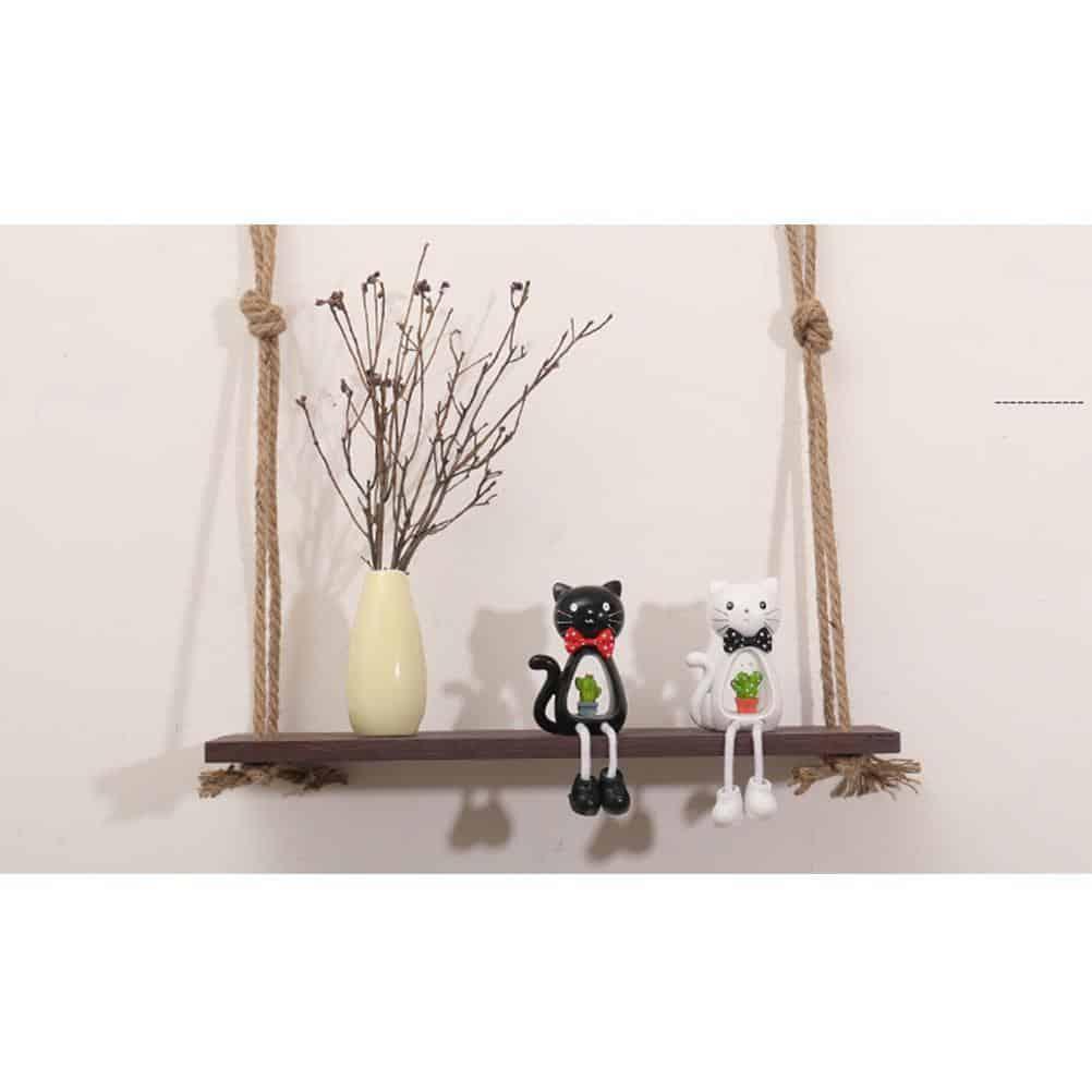 Essence by Shields Shelf | Wooden Hanging Shelf Swing Rope
