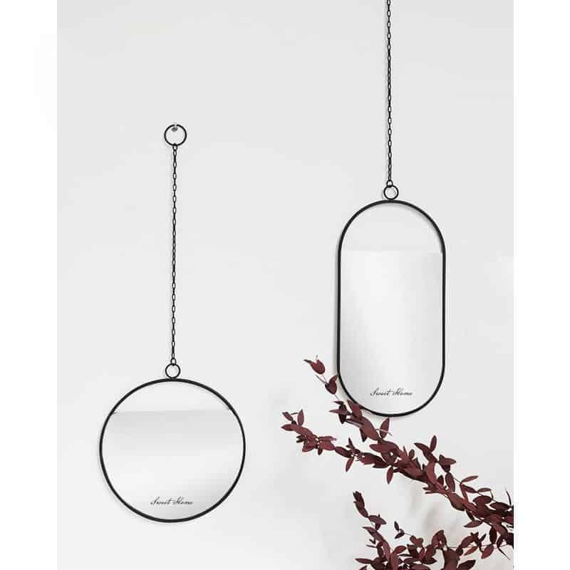 Titanno by Sandra Bjorkman Black Mirror/Hanging Chain Mirror