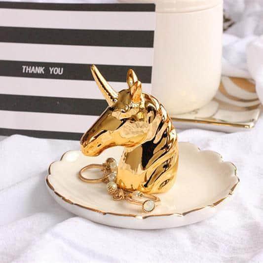 Flora Baker Unicorn Gold Organizer/Ring Holder unique and elegant Tray