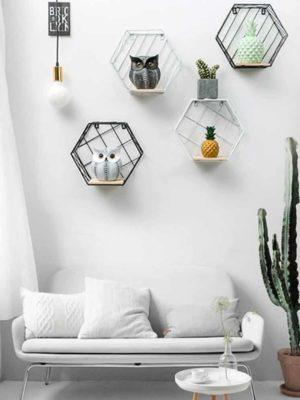 Blankenship by Shields Shelf | Hexagonal Geometric Iron Grid Shelf