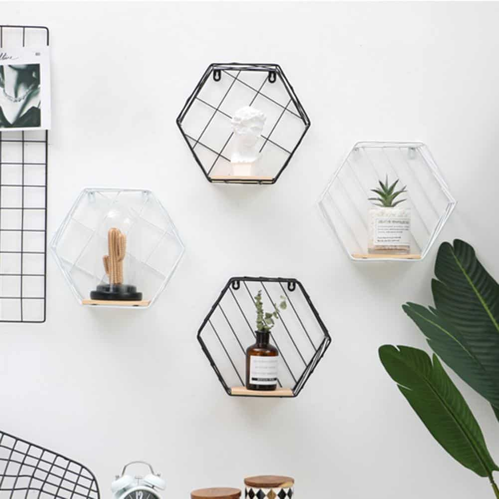 Blankenship by Shields Shelf | Hexagonal Geometric Iron Grid Shelf