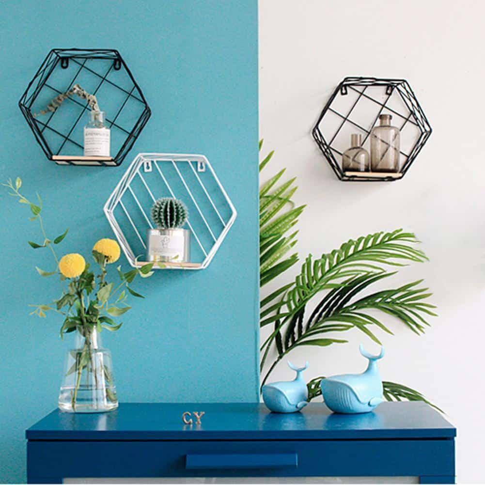 Blankenship by Shields Shelf   Hexagonal Geometric Iron Grid Shelf Shelf